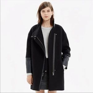 Madewell leather edged city grid coat size 6